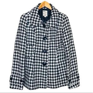 Tulle Houndstooth Black and Ivory Peacoat Jacket
